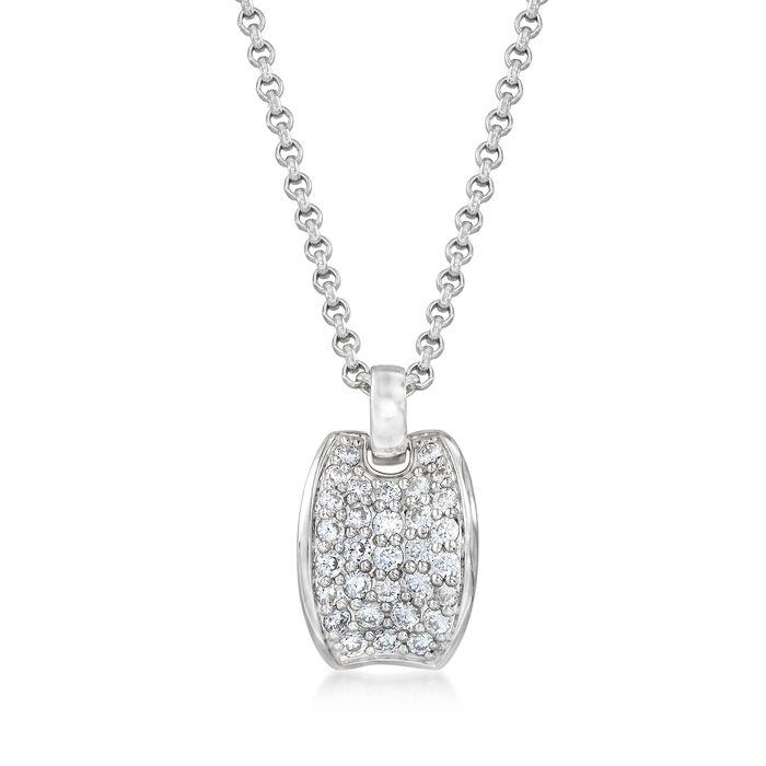 "Belle Etoile ""Lucia White"" 1.55 ct. t.w. CZ Pendant in Sterling Silver. Pendant, , default"