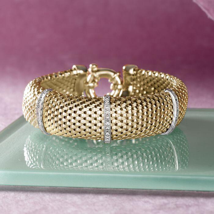 Italian .15 ct. t.w. Diamond Bar Mesh Bracelet in 18kt Yellow Gold Over Sterling