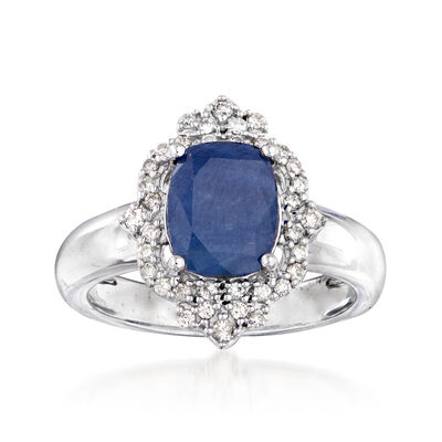 3.30 Carat Sapphire and .25 ct. t.w. Diamond Ring in 14kt White Gold