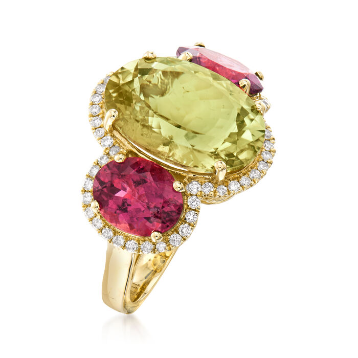 11.75 ct. t.w. Yellow and Pink Tourmaline and .40 ct. t.w. Diamond Ring in 14kt Yellow Gold