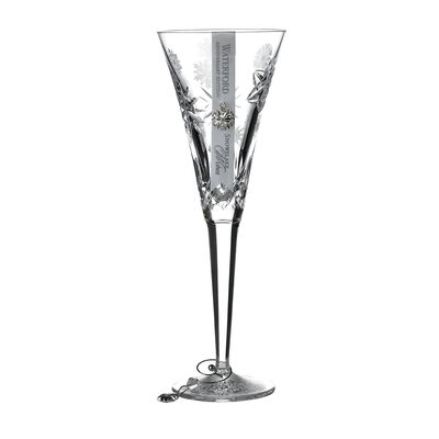 "Waterford Crystal ""Snowflake Wishes"" Love Anniversary Edition Toasting Flute Glass"