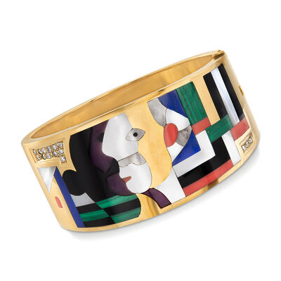 C. 1990 Vintage Asch Grossbardt Multi-Gemstone Mosaic Cuff Bracelet in 14kt Yellow Gold, , default
