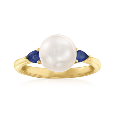 8mm Cultured Pearl and .30 ct. t.w. Sapphire Ring in 18kt Gold Over Sterling