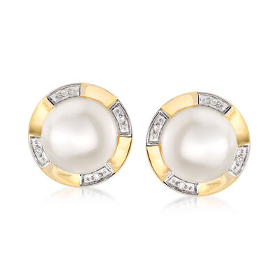10.5-11mm Cultured Pearl Earrings with Diamond Accents in 14kt Yellow Gold, , default