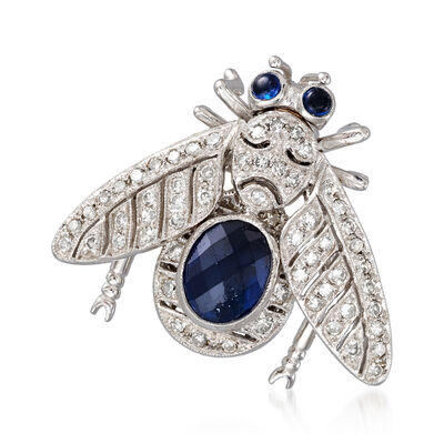C. 1980 Vintage 1.50 ct. t.w. Sapphire and .70 ct. t.w. Diamond Bee Pin in 18kt White Gold