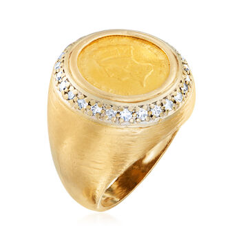 C. 2000 Vintage .52 ct. t.w. Diamond Coin Ring in 14kt Yellow Gold. Size 8, , default