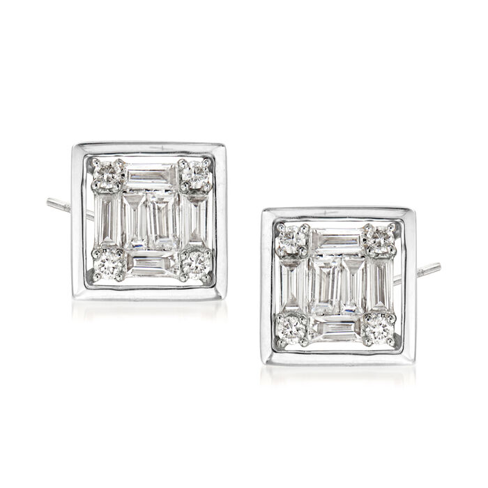 .35 ct. t.w. Round and Baguette Diamond Square Earrings in 18kt White Gold