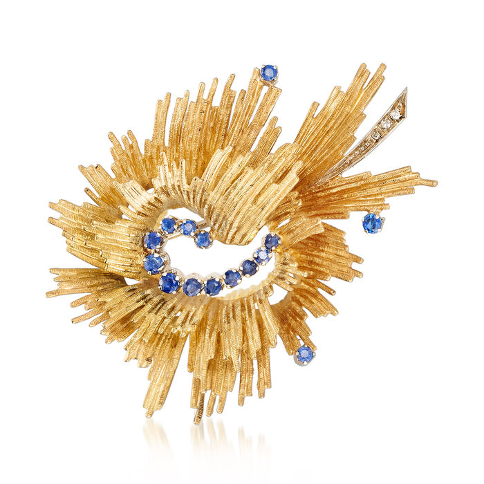 C. 1980 Vintage .60 ct. t.w. Sapphire Swirl Pin with Diamond Accents in 18kt Yellow Gold, , default