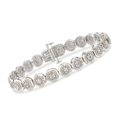 3.00 ct. t.w. Diamond Circle Cluster Bracelet in Sterling Silver, , default