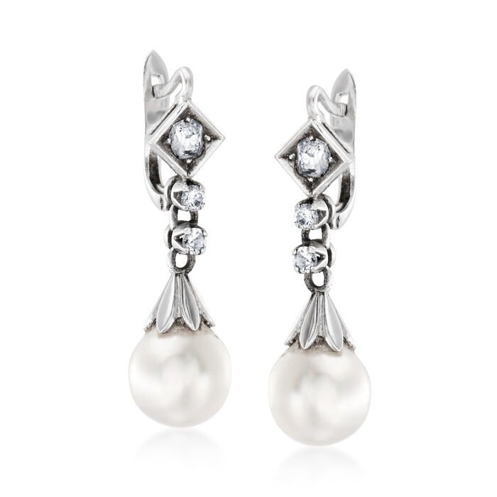C. 1950 Vintage 9mm Cultured Pearl and .50 ct. t.w. Diamond Drop Earrings in 18kt White Gold