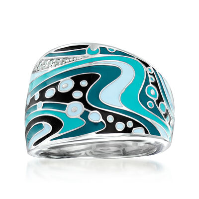 "Belle Etoile ""Calypso"" Turquoise and Multicolored Enamel Ring with CZ Accents in Sterling Silver"