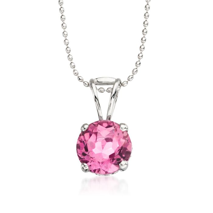 "2.50 Carat Pink Topaz Solitaire Necklace in 14kt White Gold. 16"", , default"