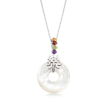 "Mother-Of-Pearl and .36 ct. t.w. Multi-Stone ""Happy"" Chinese Symbol Pendant Necklace in Sterling Silver. 18"", , default"