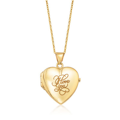 "18kt Yellow Gold ""I Love You"" Script  Heart Locket Necklace"