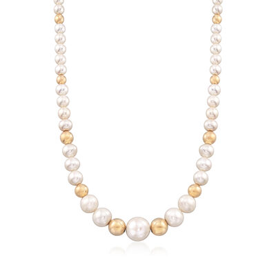4-14mm Cultured Pearl and Bead Graduated Necklace with 14kt Yellow Gold, , default