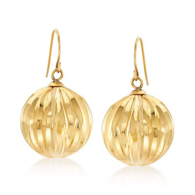 Italian Andiamo 14kt Yellow Gold Fluted Drop Earrings, , default