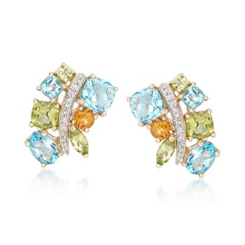 """6.90 ct. t.w. Multi-Stone Earrings With Diamond Accents in 14kt Yellow Gold. 5/8"""", , default"""