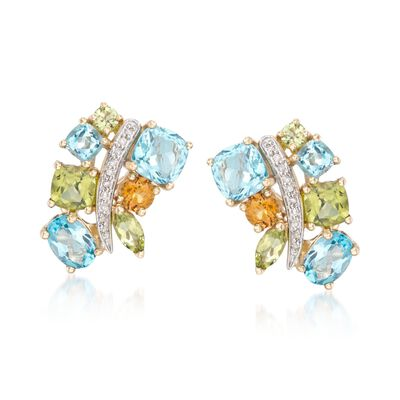 6.90 ct. t.w. Multi-Stone Earrings With Diamond Accents in 14kt Yellow Gold, , default