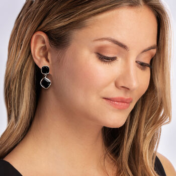 19.00 ct. t.w. Black Spinel Drop Earrings in Sterling Silver, , default