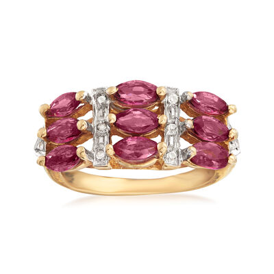 C. 1970 Vintage 1.80 ct. t.w. Pink Sapphire Ring with Diamond Accents in 14kt Yellow Gold, , default