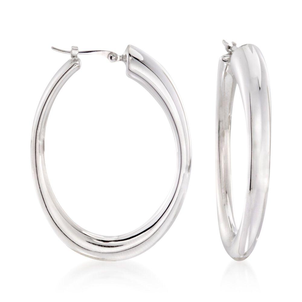 """57b7e4e0635937 Sterling Silver Oval Hoop Earrings. 1 3/8"""", , default"""