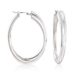 Sterling Silver Oval Hoop Earrings, , default