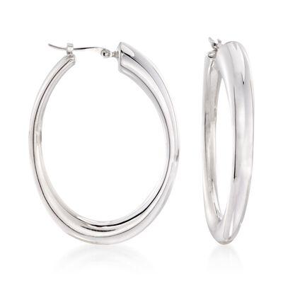 Sterling Silver Oval Hoop Earrings, , default