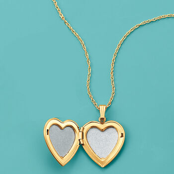 14kt Yellow Gold Heart Locket Necklace with Diamond Accent, , default