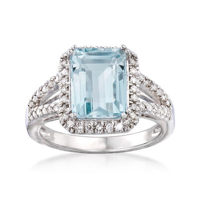 2.95 Carat Aquamarine and .25 ct. t.w. Diamond Ring in Sterling Silver