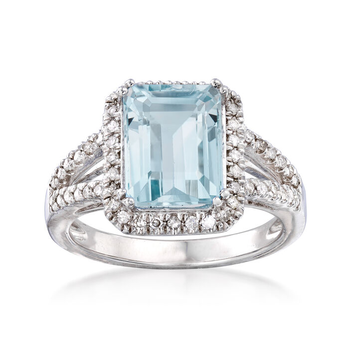 2.95 Carat Aquamarine and .25 ct. t.w. Diamond Ring in Sterling Silver. Size 8, , default