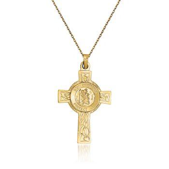 """14kt Yellow Gold Saint Christopher Pendant Necklace. 18"""", , default"""