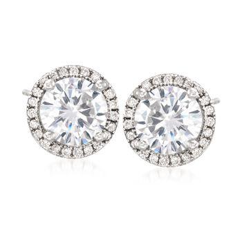 3.25 ct. t.w. CZ Halo Stud Earrings in Sterling Silver, , default