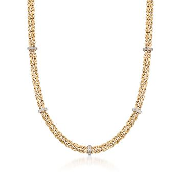 """14kt Yellow Gold Byzantine Necklace With Diamond-Accented Stations. 20"""", , default"""