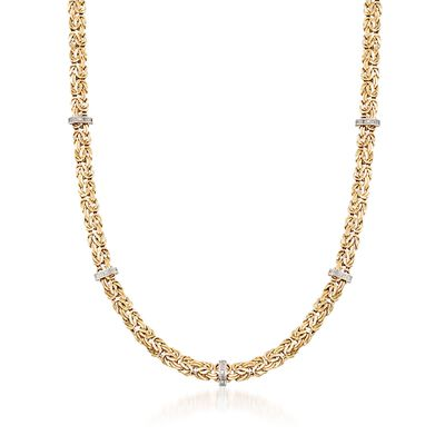 14kt Yellow Gold Byzantine Necklace With Diamond-Accented Stations, , default