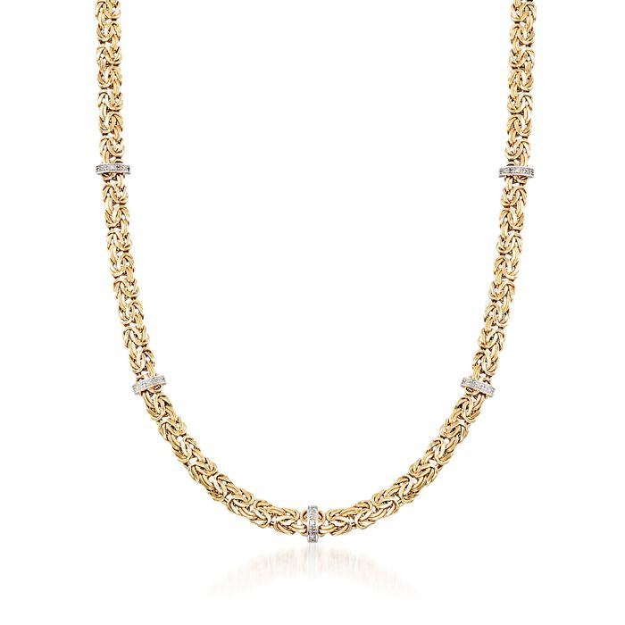 "14kt Yellow Gold Byzantine Necklace with Diamond-Accented Stations. 20"", , default"
