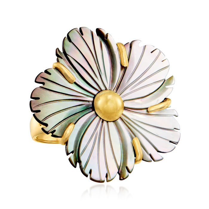 Italian Gray Mother-Of-Pearl Flower Ring in 18kt Gold Over Sterling
