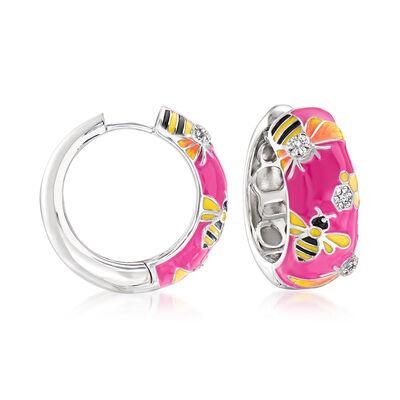 .20 ct. t.w. White Topaz and Multicolored Enamel Bumblebee Hoop Earrings in Sterling Silver