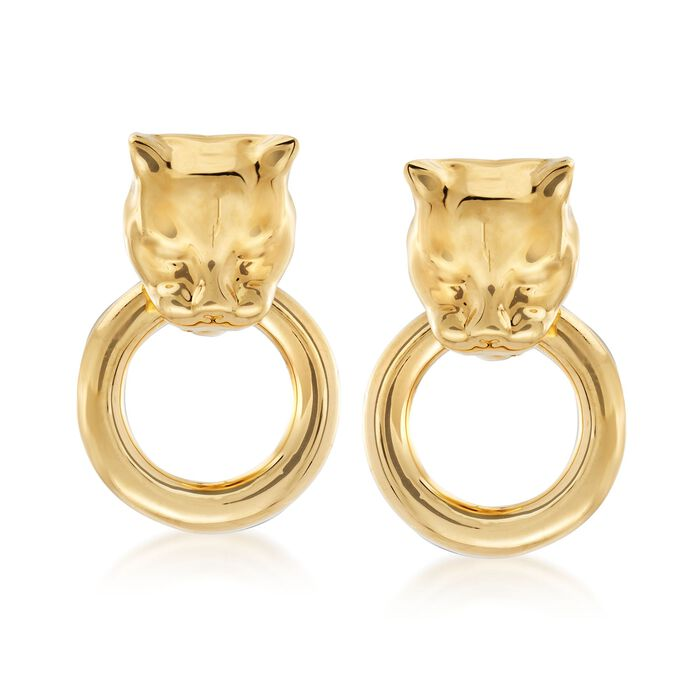 Andiamo 14kt Yellow Gold Panther Head Doorknocker Earrings, , default