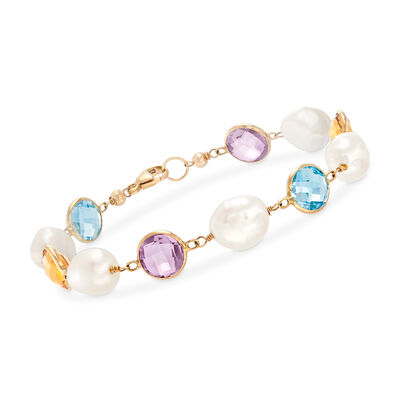 8-9mm Cultured Pearl and 12.00 ct. t.w. Multi-Gemstone Bracelet in 14kt Yellow Gold, , default