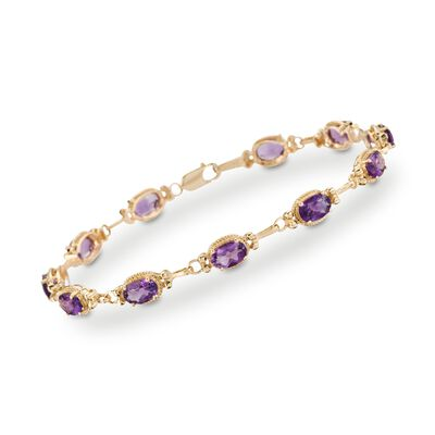 5.00 ct. t.w. Amethyst Bracelet in 14kt Yellow Gold, , default