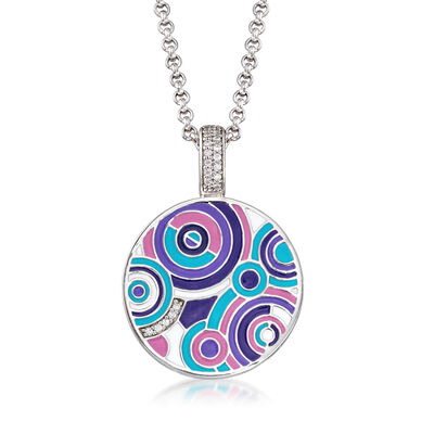 "Belle Etoile ""Emanation"" Multicolored Enamel and .10 ct. t.w. CZ Pendant in Sterling Silver, , default"