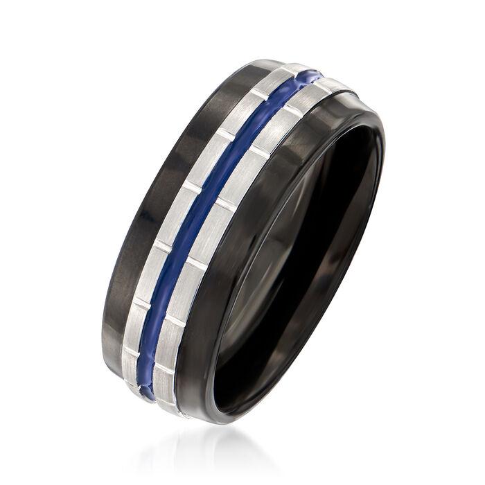 Men's 8mm Tungsten Carbide Wedding Ring with Blue Stripe