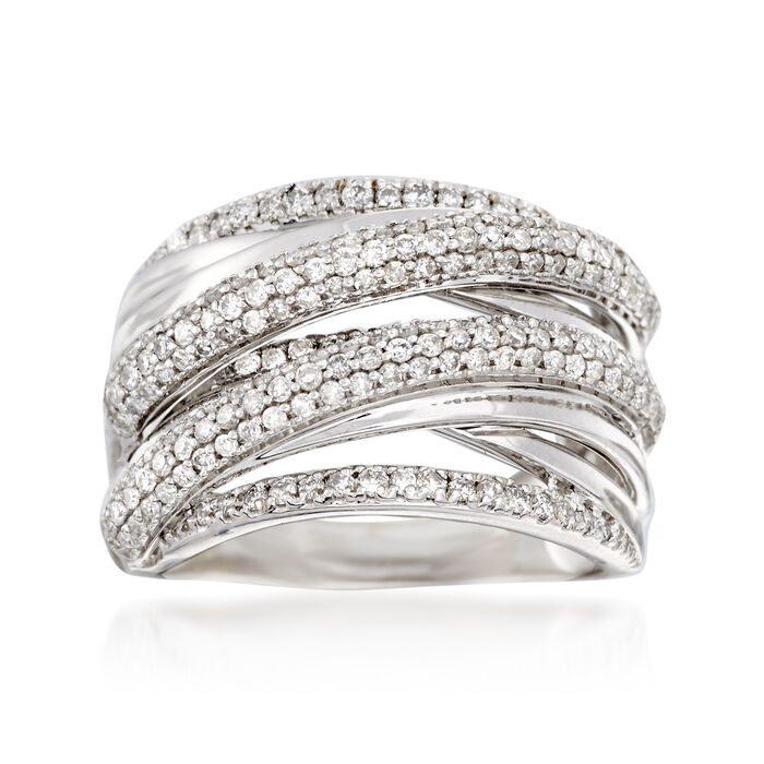 1.00 ct. t.w. Pave Diamond Highway Ring in 14kt White Gold, , default