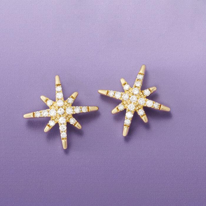 .25 ct. t.w. Diamond Star Earrings in 14kt Yellow Gold