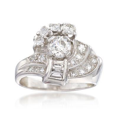 C. 1950 Vintage 1.06 ct. t.w. Multi-Cut Diamond Cluster Ring in Platinum, , default