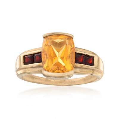 C. 1980 Vintage 2.90 Carat Citrine and .50 ct. t.w. Garnet Ring in 10kt Yellow Gold, , default