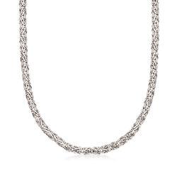 14kt White Gold Flat Byzantine Necklace, , default