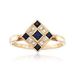 C. 1980 Vintage .25 ct. t.w. Sapphire and .15 ct. t.w. Diamond Checkerboard Ring in 18kt Yellow Gold, , default