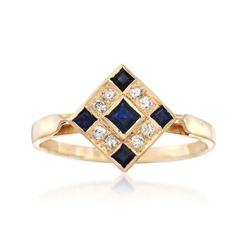 C. 1980 Vintage .25 ct. t.w. Sapphire and .15 ct. t.w. Diamond Checkerboard Ring in 18kt Yellow Gold. Size 8, , default