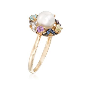 7-7.5mm Cultured Pearl and .37 ct. t.w. Multi-Stone Ring in 14kt Yellow Gold, , default